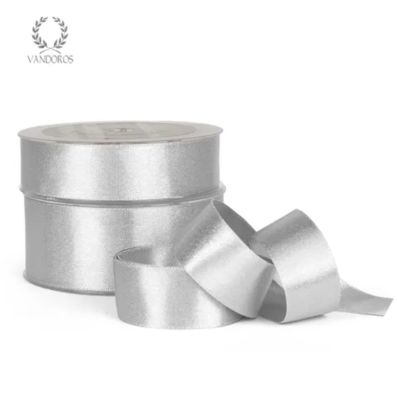 Satin Pearl 'White Silver' Ribbon