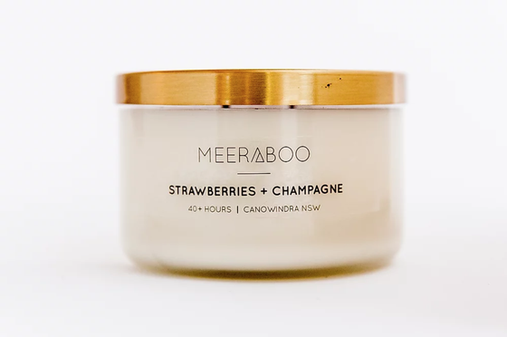 'Strawberries & Champagne' Brass Lid Soy Candles