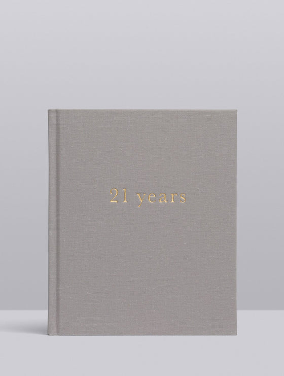 '21 Years. 21 Years of You' in Light Grey Linen