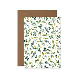 'Green Leaves' Greeting Card