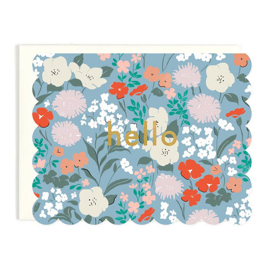 'Hello' Scalloped Floral Greeting Card