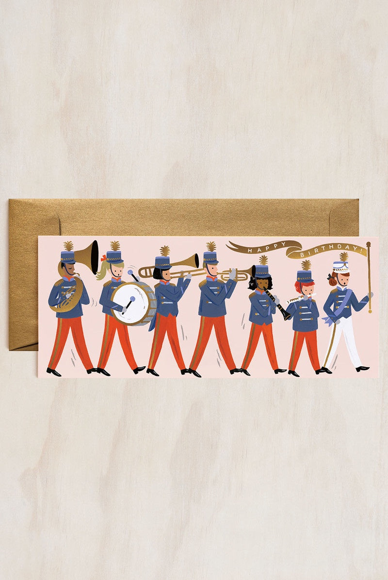 'Happy Birthday' Marching Band Long Greeting Card