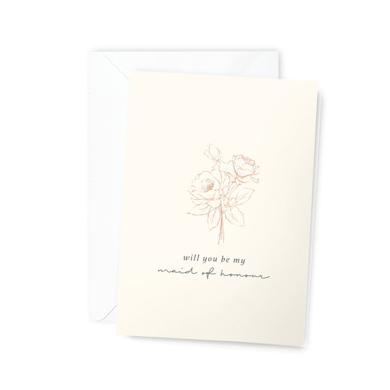 'Will You Be My Maid of Honour' Bouquet Greeting Card