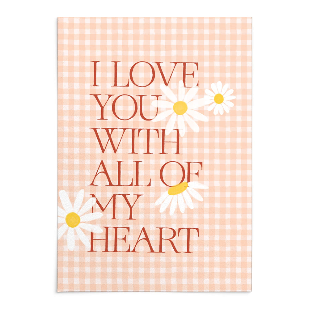 'With All My Heart' Peach Gingham Greeting Card with Wax Seal