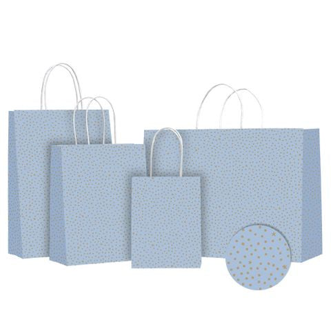 'French Blue Stars' Paper Twist Handle Gift Bags