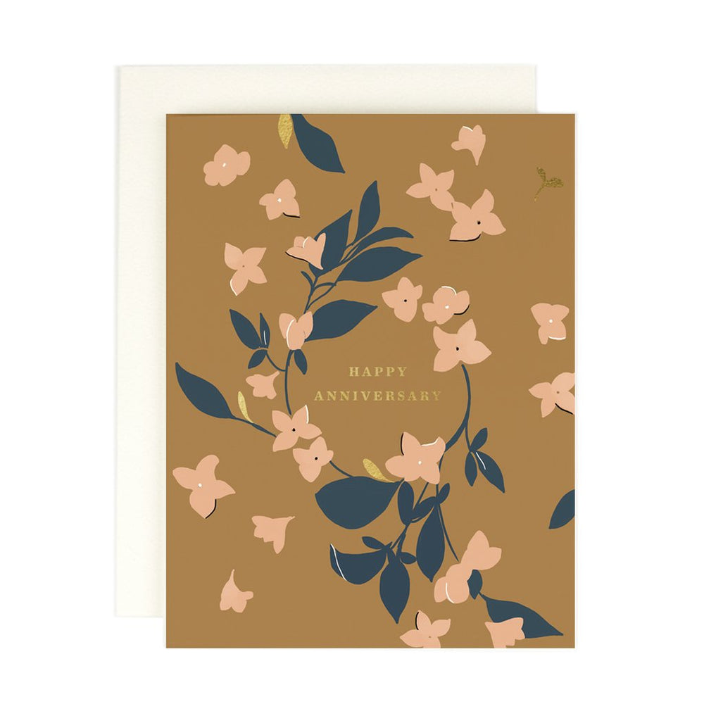 'Happy Anniversary' Ochre Greeting Card