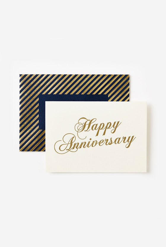 'Happy Anniversary' Gold Scroll Greeting Card