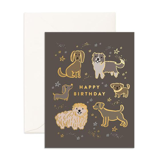 'Happy Birthday' Many Dogs Greeting Card