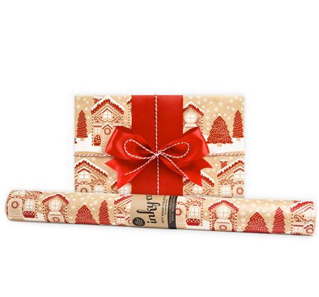 'Gingerbread Lane' Kraft Gift Wrap (10m Roll)