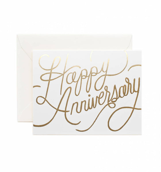 'Happy Anniversary' Gold Foil Greeting Card