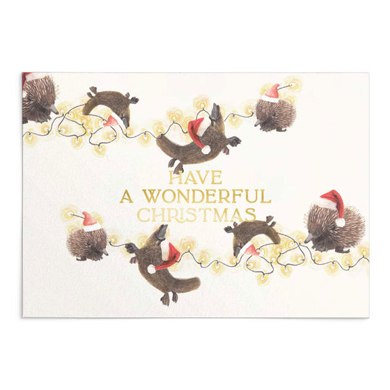 'Have a Wonderful Christmas' Animals Vs. Lights Greeting Card (Shipping Mid Oct)