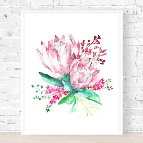 'King Protea Bouqet' Watercolour Art Print