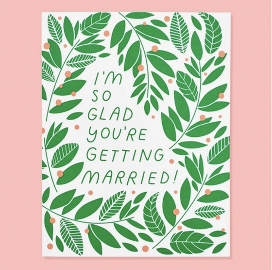 'So Glad You're Getting Married' Vines Greeting Card