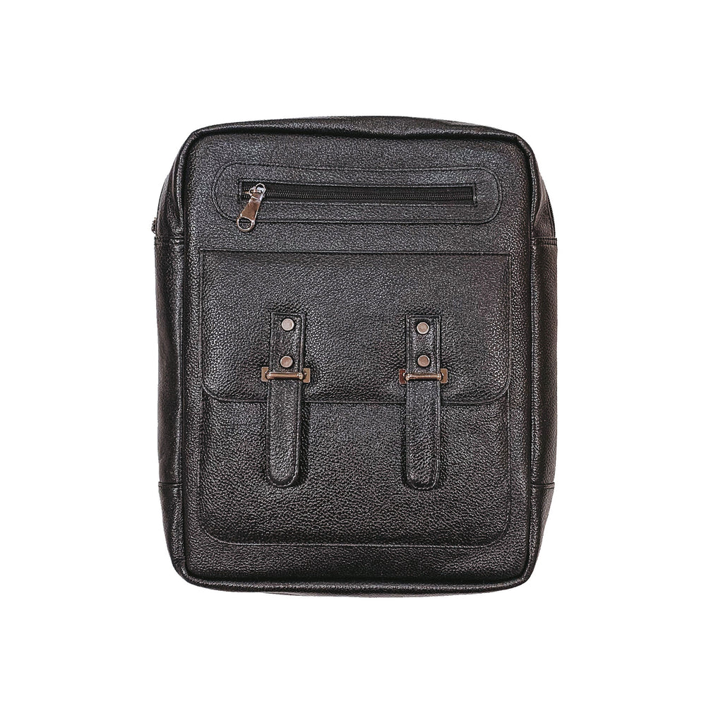 'Black' Leather Laptop Backpack
