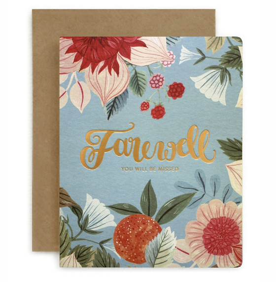 Folk 'Farewell We Will Miss You' Greeting Card