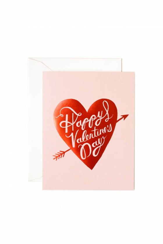 'Happy Valentines Day' Red Heart Greeting Card