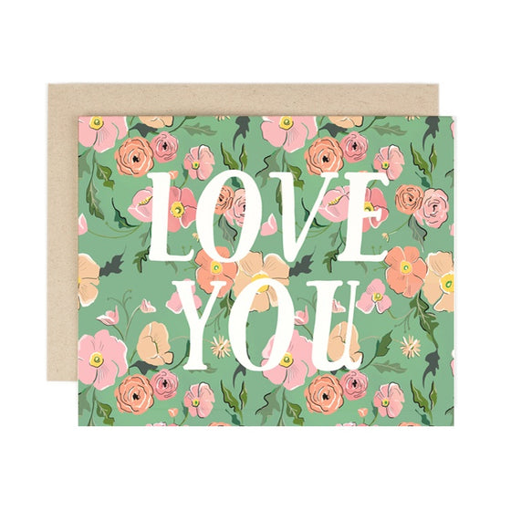 'Love You' Green Floral Greeting Card