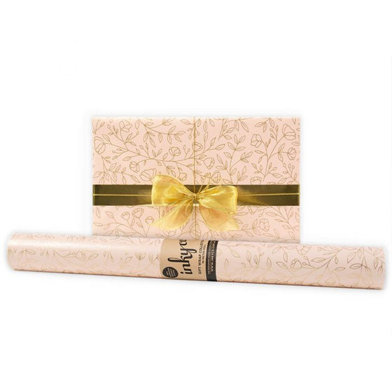 'Delicate Flowers' Nude Gift Wrap (10m Roll)