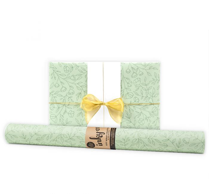 'Delicate Flowers' Sage Gift Wrap (10m Roll)