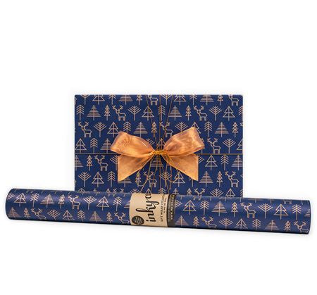 'Geo Forest' Indigo & Copper Gift Wrap (10m Roll)