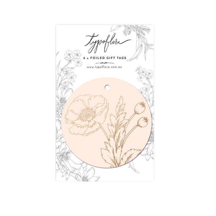 'Poppy' Light Pink Foil Gift Tags