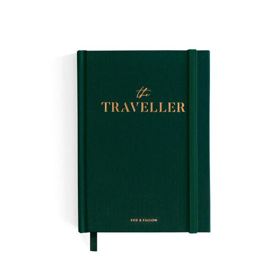 'The Traveller' Green Linen Bound Travel Journal