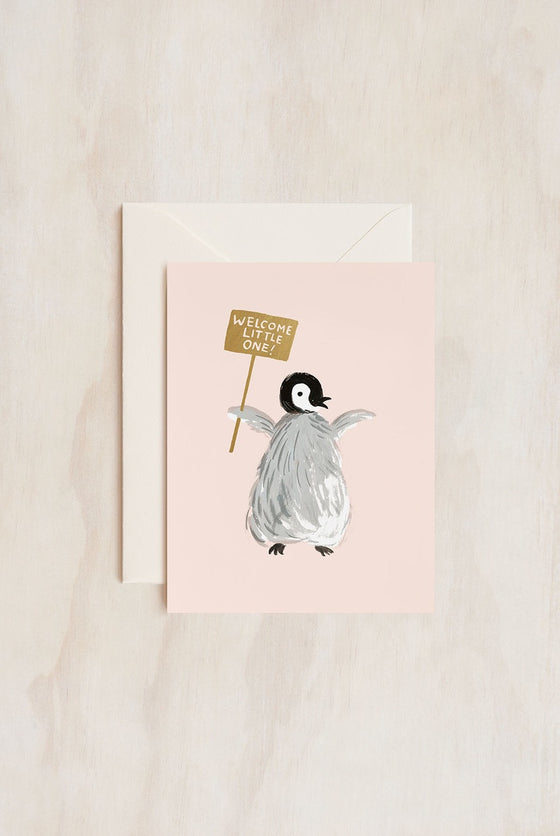 'Welcome Little One' Penguin Greeting Card