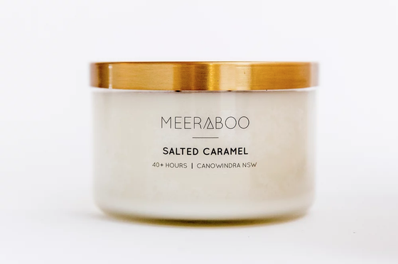 'Salted Caramel' Brass Lid Soy Candles