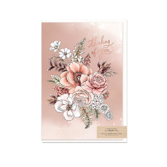 Peony 'Thinking of You' Greeting Card