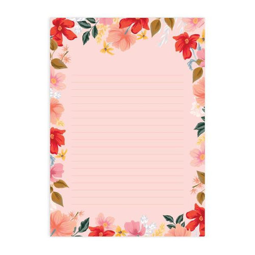'Florentine Wild Rose' A4 Notepad (Ruled)