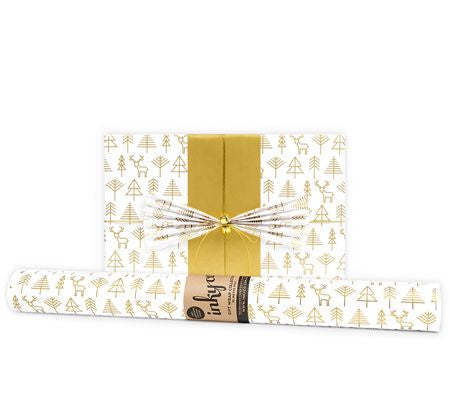 'Geo Forest' White & Gold Gift Wrap (10m Roll)