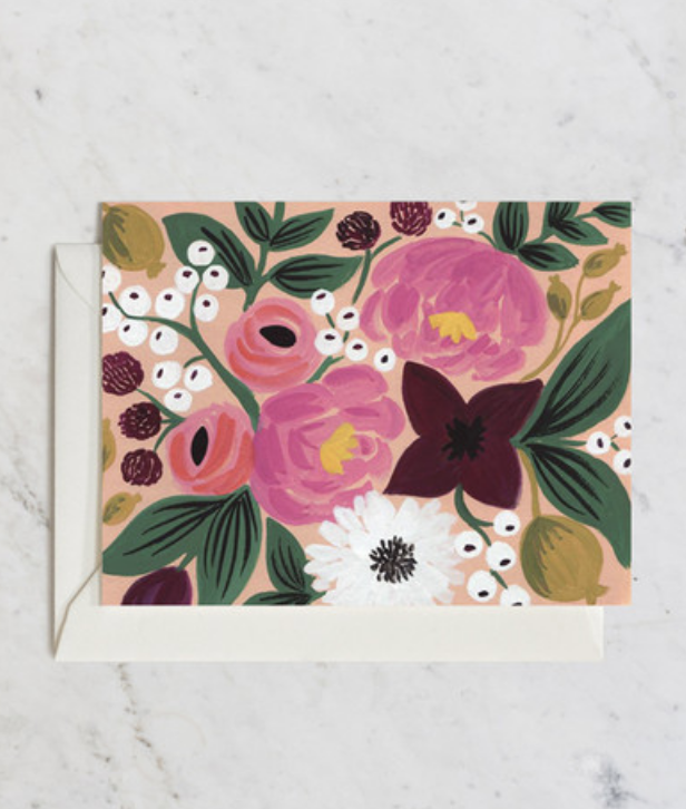 Blossoms Peach Blank Greeting Card