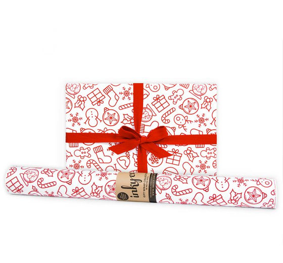 'My Xmas' Red & White Gift Wrap (10m Roll)