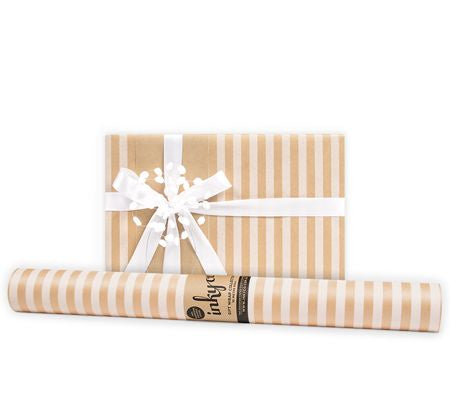 'White Stripe' Kraft Gift Wrap (10m Roll)