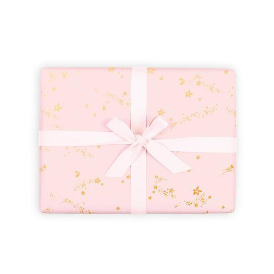'Pink Stardust' Silver Foil Gift Wrap (Per Sheet)