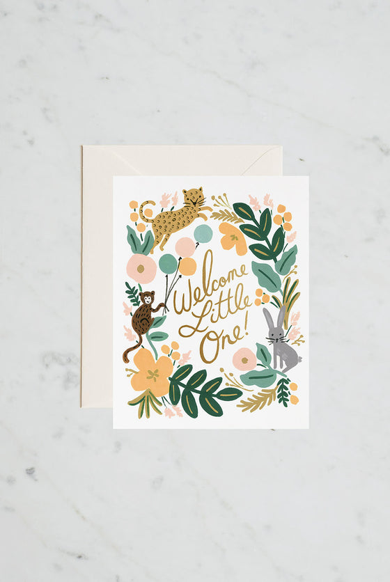 'Welcome Little One' Menagerie Greeting Card