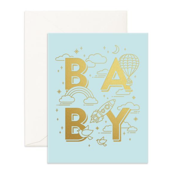 'BABY' Blue Greeting Card