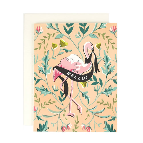 'Hello' Flamingo Greeting Card