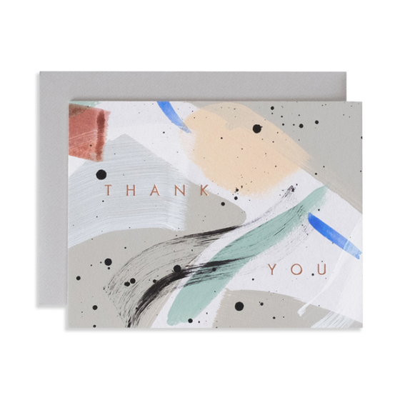 Hand Painted 'Thank You' Flat Note Card