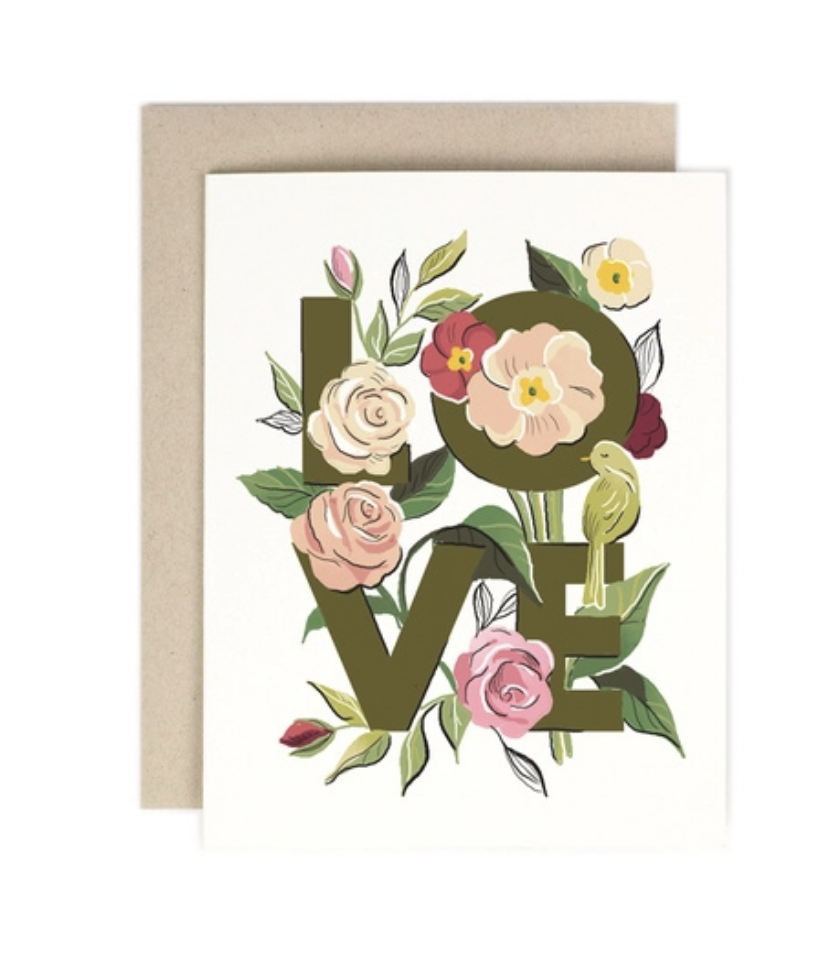 'Love' Botanical Greeting Card