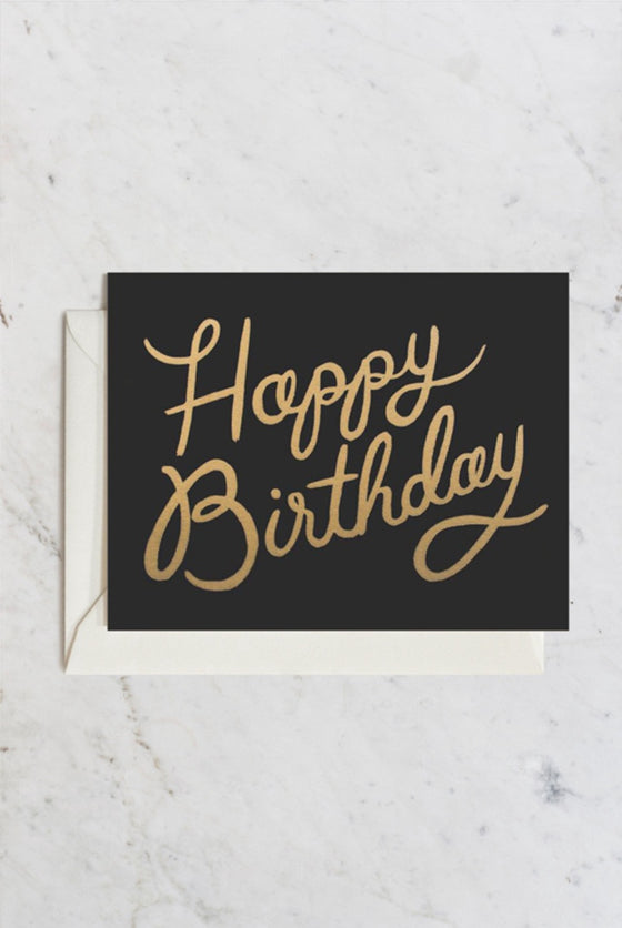 'Happy Birthday' Shimmering Black Gold Greeting Card