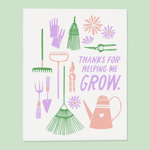 'Thanks for Helping Me Grow' Greeting Card