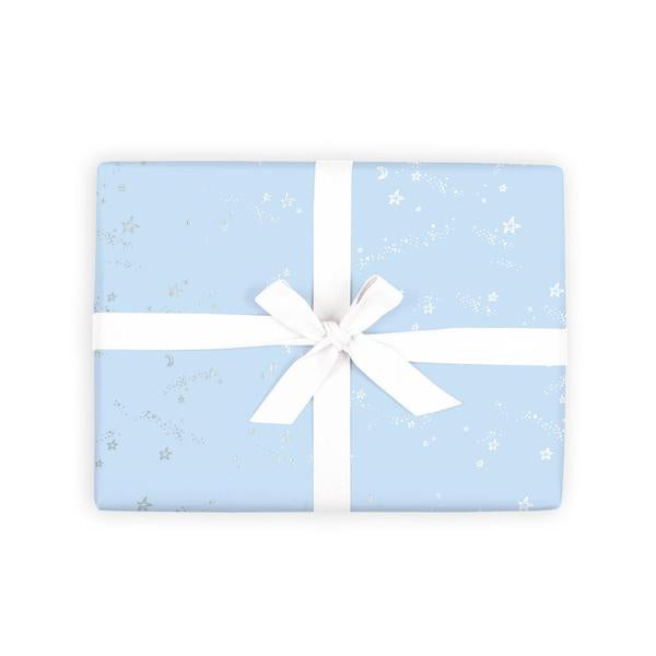 Load image into Gallery viewer, 'Blue Stardust' Silver Foil Gift Wrap (Per Sheet)