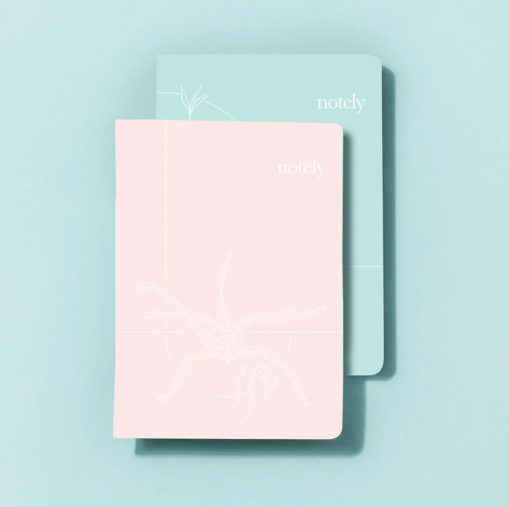 Load image into Gallery viewer, 100% Recycled 'Light Grey & Byron Blue' A6 Pocket Notebooks (Set of 2)