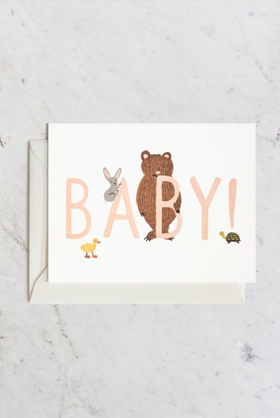 'Baby!' Peach Greeting Card