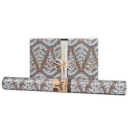 'Yuletide' Copper & Charcoal Gift Wrap (10m Roll)