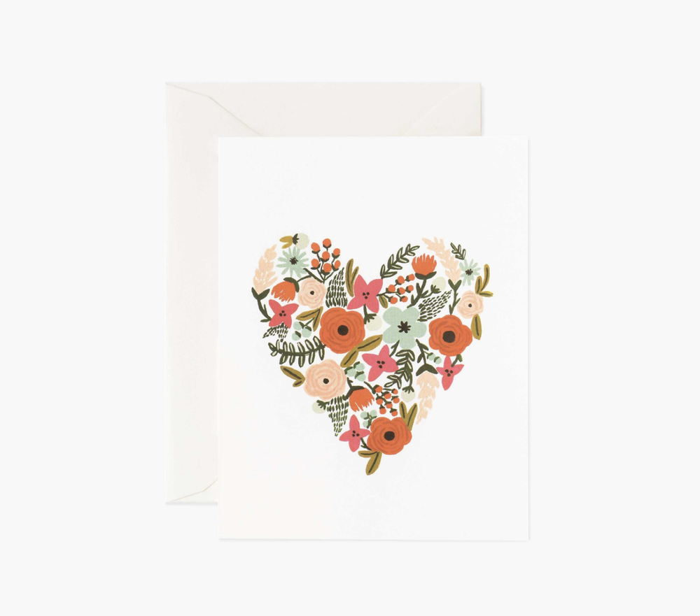 'Floral Heart' Blank Greeting Card