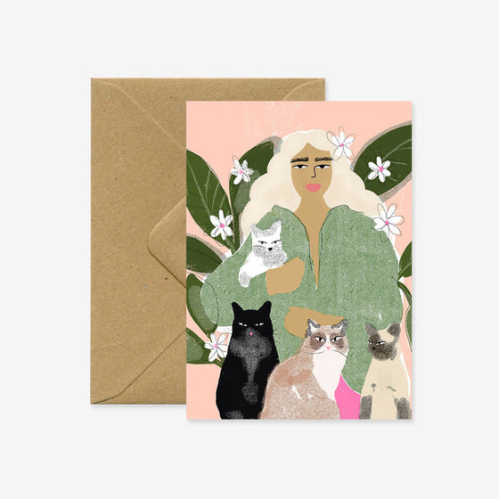 'Cat Lady' Blank Greeting Card