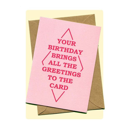'Your Birthday Brings All The Greetings To The Card' Greeting Card