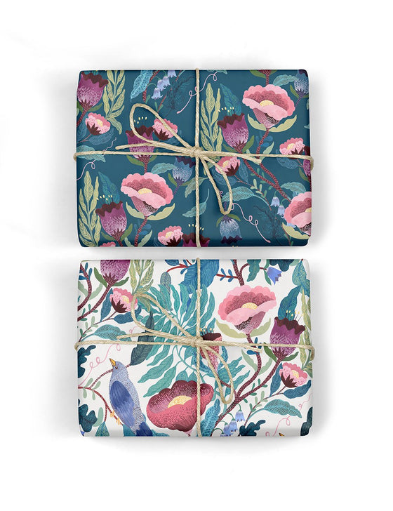Blomstra 'Bird Twig / Indigo Floral' Double-Sided Gift Wrap (Per Sheet)
